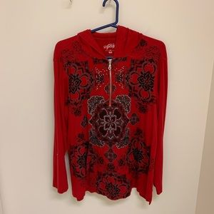 Cute red blingy hoodie with kangaroo pocket